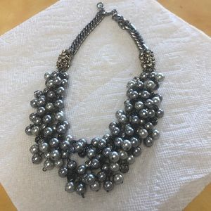 Stella & Dot silver pearl statement necklace